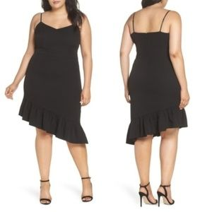 Chelsea28 Asymmetric Ruffle Hem Black Dress 24